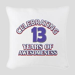 Celebrating 13 Years Woven Throw Pillow