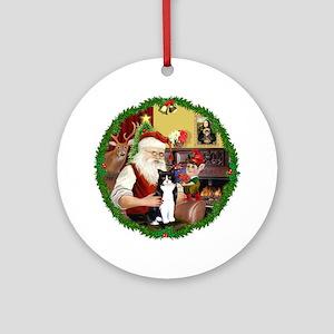 Wreath-Santa & BW cat Ornament (Round)