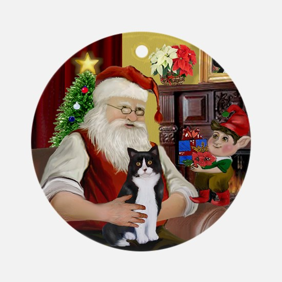 Santa's black and white cat Ornament (Round)