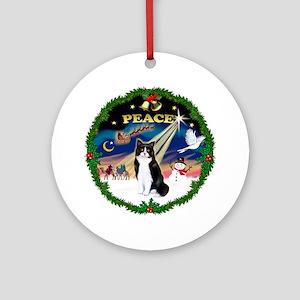 Wreath (Peace) & Cat (SH-Blk-Wht)(Ornament (Round)