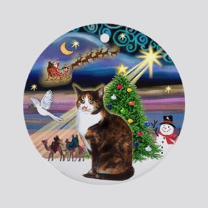 Xmas Magic & Calico cat Ornament (Round)