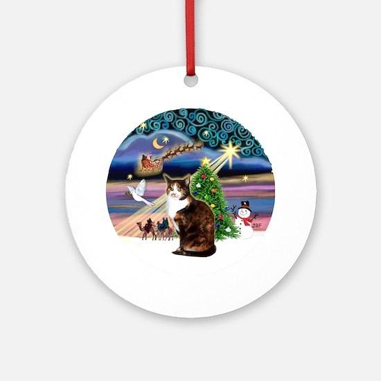 Xmas Magic & Calico cat Ornament (Round)