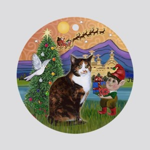 Xmas Fantasy / Calico cat Ornament (Round)