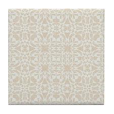 Cute Cream Linen Pattern Tile Coaster