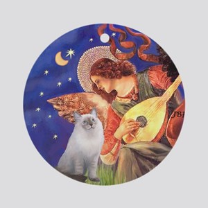 Mandolin Angel & Ragdoll cat Ornament (Round)