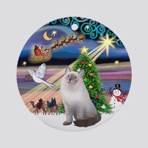 Xmas Magic & blue Ragdoll cat Ornament (Round)