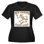 New Orleans Grsi Gris Women's Plus Size V-Neck Dar