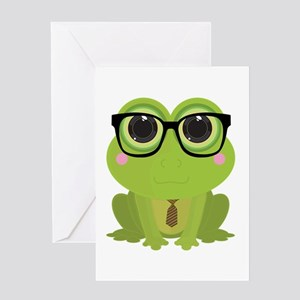Frog Nerd Greeting Cards