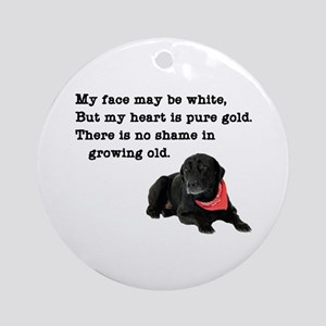 Old Black Lab Round Ornament