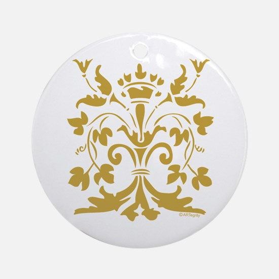 Fleur de lis Queen (gold) Ornament (Round)