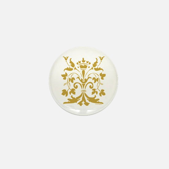 Fleur de lis Queen (gold) Mini Button