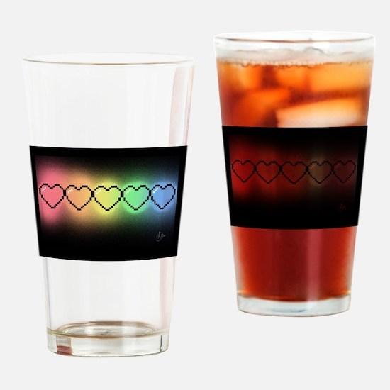 Rainbow Pixel Heart Drinking Glass