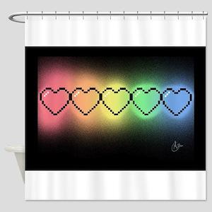 Rainbow Pixel Heart Shower Curtain