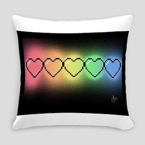 Rainbow Pixel Heart Everyday Pillow