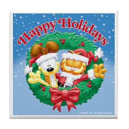 Garfield & Odie Happy Holidays Tile Coaster