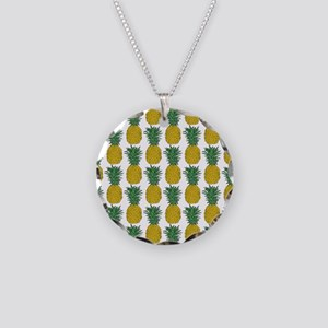 All Over Pineapple Pattern Necklace Circle Charm