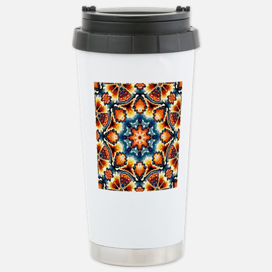 Colorful Concentric Motif Travel Mug