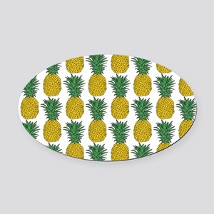 All Over Pineapple Pattern Oval Car Magnet