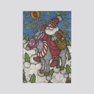 Santa Lights the Way Rectangle Magnet