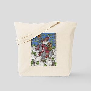 Santa Lights the Way Tote Bag