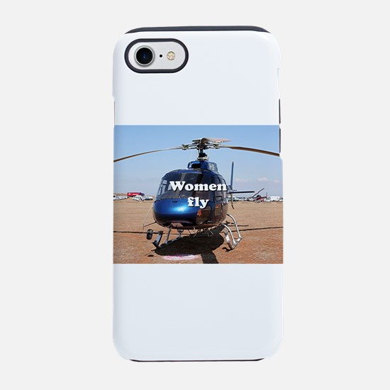 Women fly: blue helicopter iPhone 8/7 Tough Case