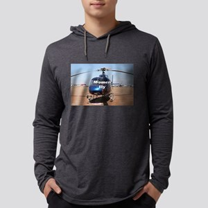 Women fly: blue helicopter Long Sleeve T-Shirt