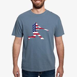 Baseball Batter American Flag T-Shirt