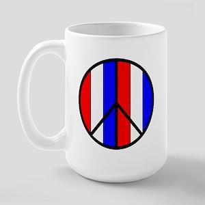 Red White Blue Peace Sign Large Mug
