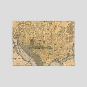 Vintage Map of Washington D.C. (189 5'x7'Area Rug