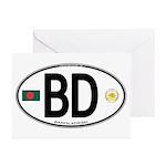 Bangladesh Euro Oval Greeting Cards (Pk of 10)