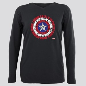 Captain America Word Shi Plus Size Long Sleeve Tee