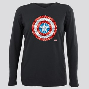 Captain America Pixel Sh Plus Size Long Sleeve Tee