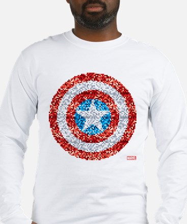 Captain America Pixel Shield Long Sleeve T-Shirt