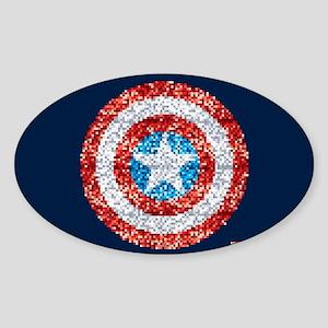 Captain America Pixel Shield Sticker (Oval)