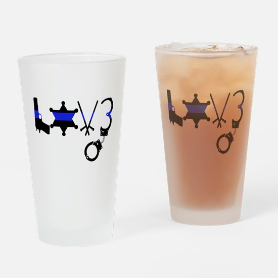 Cute Police family Drinking Glass