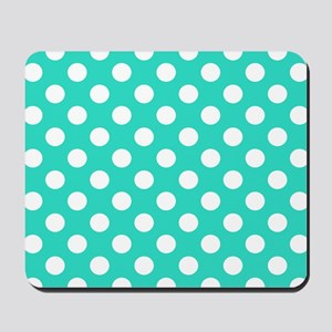 Turquoise Teal Blue Polka Dots Mousepad