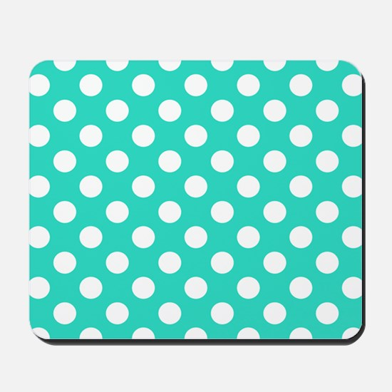 Turquoise Teal Blue Polka Dots Mousepad
