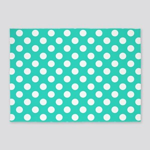 Turquoise Teal Blue Polka Dots 5'x7'Area Rug