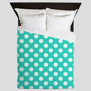Turquoise Teal Blue Polka Dots Queen Duvet