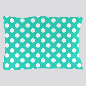 Turquoise Teal Blue Polka Dots Pillow Case