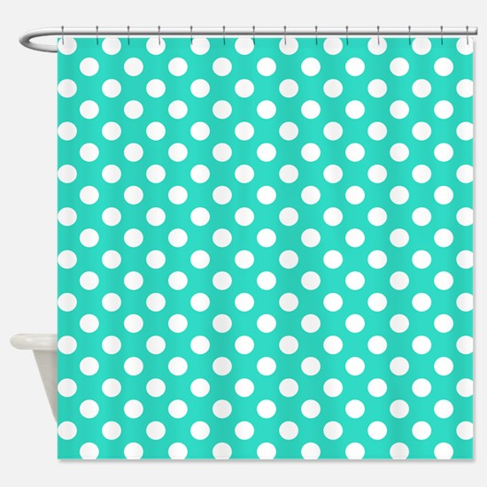 Turquoise Teal Blue Polka Dots Shower Curtain