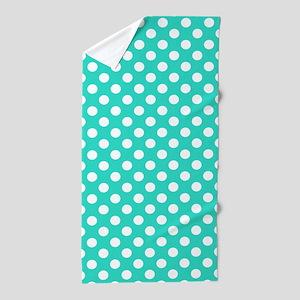 Turquoise Teal Blue Polka Dots Beach Towel