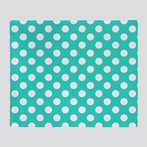Turquoise Teal Blue Polka Dots Throw Blanket