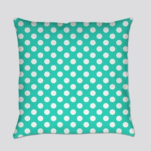 Turquoise Teal Blue Polka Dots Everyday Pillow