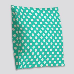 Turquoise Teal Blue Polka Dots Burlap Throw Pillow