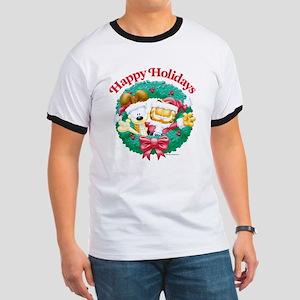 Garfield & Odie Happy Holidays Ringer T