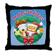 Garfield & Odie Happy Holidays Throw Pillow