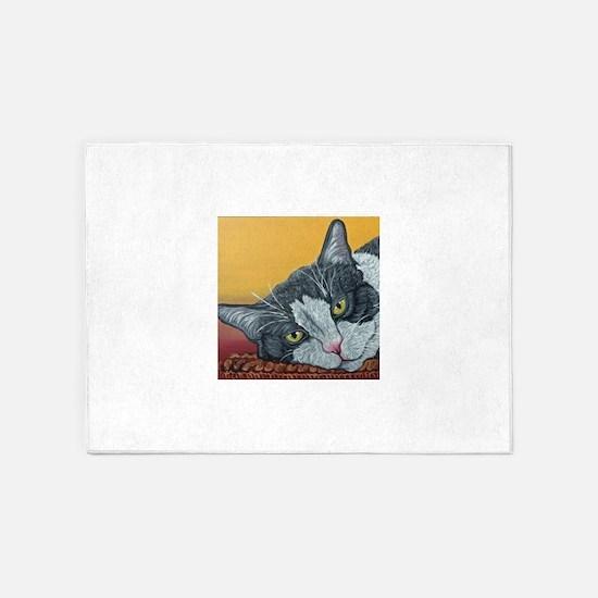 Tuxedo Cat 5'x7'Area Rug