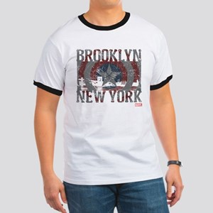 Captain America Brooklyn Distressed Ringer T