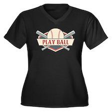 Play Ball Ba Women's Plus Size V-Neck Dark T-Shirt